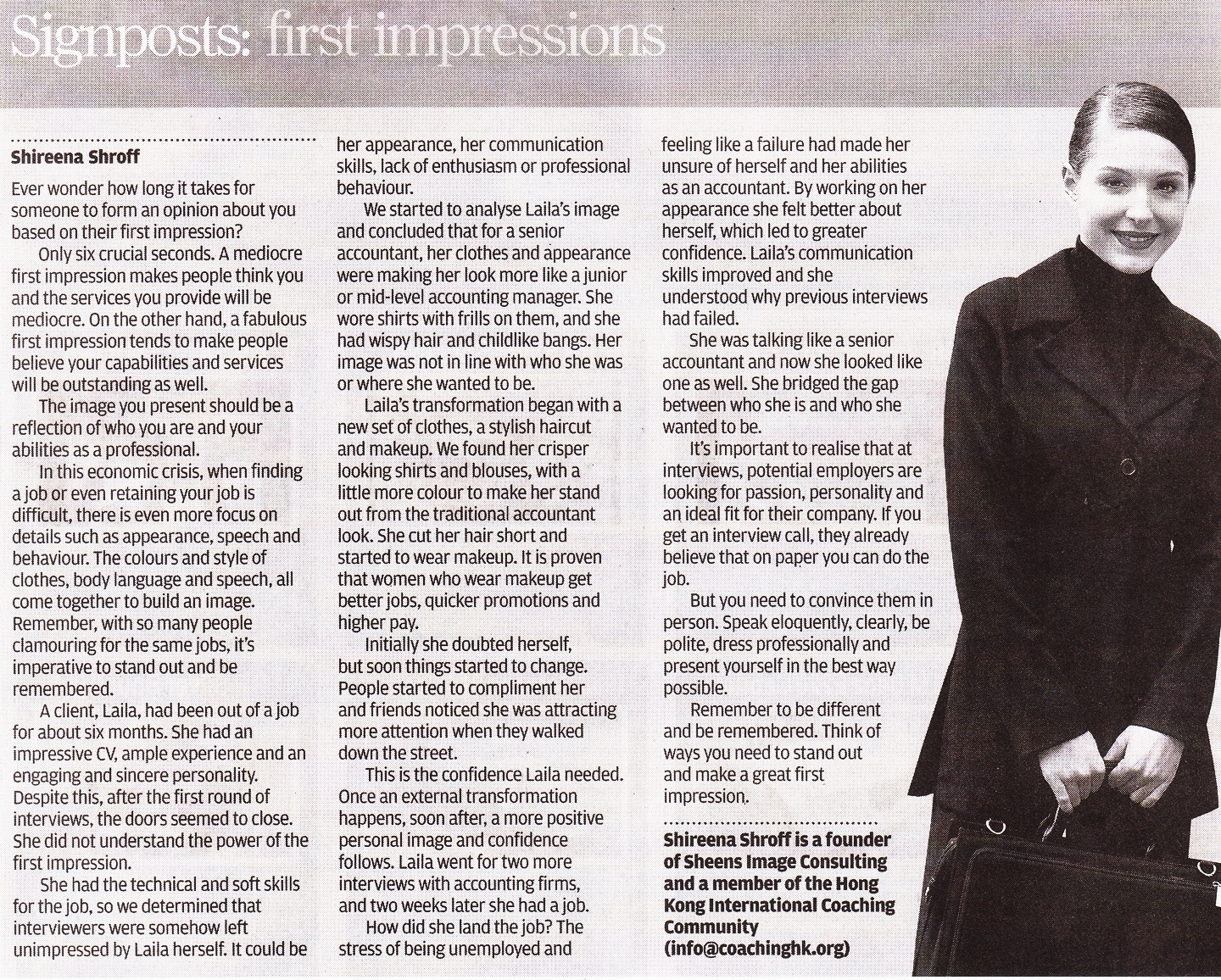 "Shireena is featured in South China Morning Post – ""Signposts: First Impressions"""